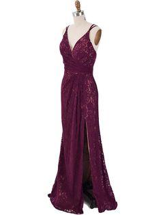 Plum Purple Surplice Wrap Draped Lace Gown with thigh slit. Purple Evening Dress, Purple Gowns, Lace Evening Gowns, Sexy Evening Dress, Purple Lace, Formal Evening Dresses, Plum Purple, Purple Dress, Toddler Flower Girl Dresses