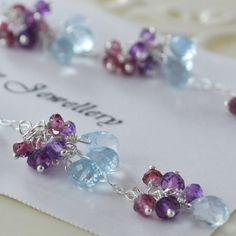 Long Gemstone Earrings Rhodolite Garnet, Amethyst and Aquamarine Sterling Jewelry