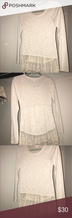 Long sleeve beige shirt with lace bottom Long sleeve beige shirt with lace bottom Tops Blouses