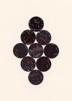 ARCHIVAL PRINT 'Bound Stars' / modern star map collage black ether celestial dots geometry diamond red thread