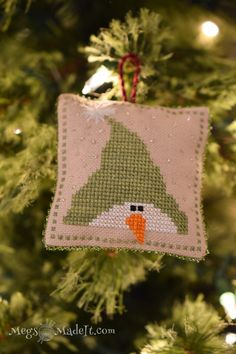Country Snowman Cross Stitch Pillow Ornament