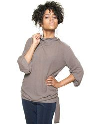 "The Petite Shop - Joneien Leah Petite Bell Sleeve Turtleneck in Taupe, $80.00. Available in women's petite sizes PS, PM and PL. Model is 5' 3""! Petite Tops, Petite Sizes, Turtleneck, Taupe, Bell Sleeves, Model, Shopping, Collection, Fashion"