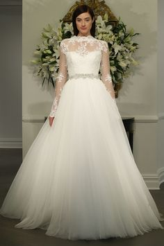 Legends by Romona Keveza - High Neck Ball Gown in Lace