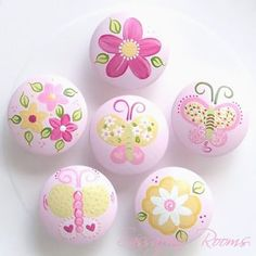 Butterfly Garden Butterfly & Flowers Hand Painted Knobs