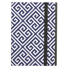 Navy Blue Greek Key Pattern iPad Air Cases