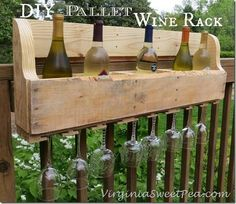 Pallet Wine Rack--great placing on side of fence for weekend get-to-gethers!! Place a lil bucket of ice and it's chilled