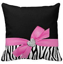 A trendy zebra pattern, diamond heart and ribbon bow illustration is featured on this designer throw pillow. Zebra Pink Bow Diamond Heart Throw Pillows