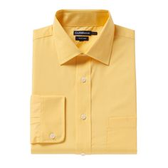 Men's Croft & Barrow® Fitted Solid Easy Care Spread-Collar Dress Shirt, Size: 17.5-32/33, Gold