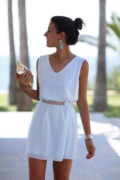 elegant belted shift dress
