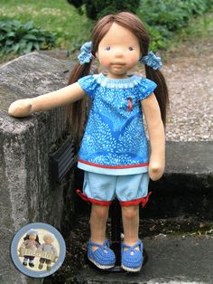 Adriana - natural fiber art doll by Lalinda.pl