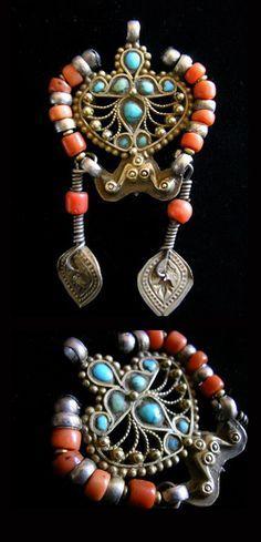 Uzbekistan | Old coral and turquoise pendant. Bukhara