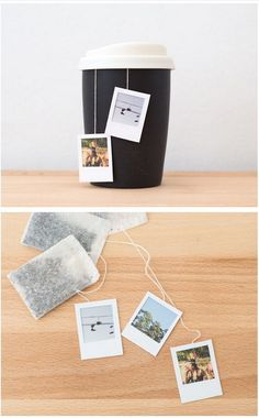 Make tea time special with these customized mini Polaroid tea bag tags. How sweet!