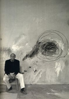 """Cy Twombly in his studio , """"When I work, I work very fast, but preparing to work can take any length of time."""" (Twombly)"""