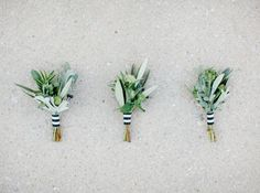 Modern stripe wrapped boutonnieres:  http://www.stylemepretty.com/wisconsin-weddings/madison-wi/2015/11/23/modern-art-gallery-wedding-3/ | Photography: Carly McRay - http://www.carlymccrayphotography.com/