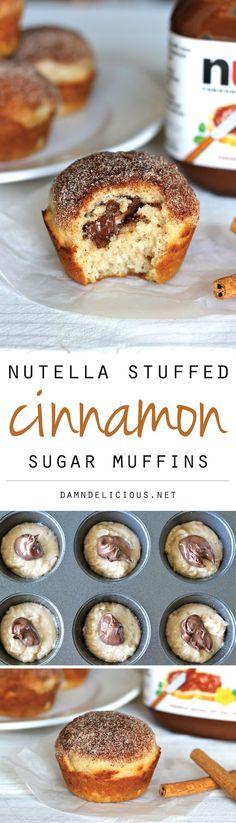 Nutella Stuffed Cinnamon Sugar Muffins - Cinnamon sugar crusted muffin tops with a hidden Nutella filling that everyone will love! Muffins, muffin recipes #muffins #breakfast #recipe