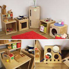 Have your kids been asking for a play kitchen set? Cardboard Box Crafts, Cardboard Play, Diy For Kids, Crafts For Kids, Doll House Plans, Diy Play Kitchen, Doll House Crafts, Easy Diy Crafts, Diy Toys