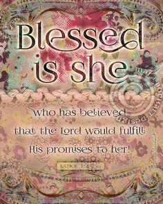 Blessed Is She - frameable print Thy Will Be Done, Blessed Is She, Christian Artwork, Luke 1, Print Ideas, Shirt Print, Heavenly Father, Canvases, Soul Food