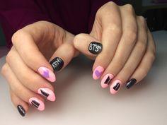 Korean Nail Art, Korean Nails, Nail Manicure, Gel Nails, Nail Polish, Concert Nails, Army Nails, Pop Art Nails, Bts Makeup