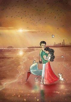 La famiglia e' la patria del cuore❤👪 Giuseppe Mazzini Love Cartoon Couple, Cute Couple Art, Couple Drawings, Love Drawings, Couple Illustration, Illustration Art, Painting Love Couple, Animated Love Images, Couple Romance