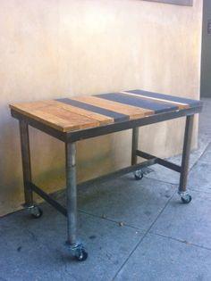 reclaimed wood topped desk