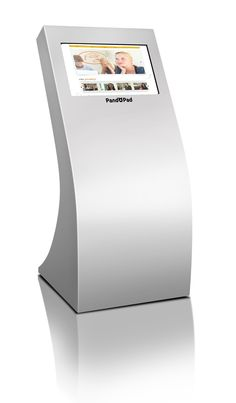 """PandoPad® Floor 22LT   - Elegant and hardy cabinet in anthracite black or white colours  - Clean lines design, suitable for repainting  - 22"""" (55 cm) touch screen, landscape orientation.  PandoPad®  – The best interactive digital signage"""