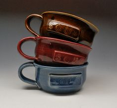 Brown Ceramic Soup Mug Stoneware Clay Pottery by dkpottery on Etsy, $22.00