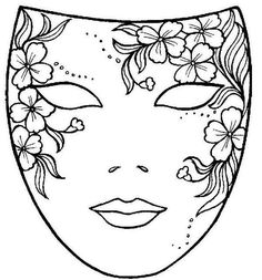 Free Printable Mask Coloring Pages - Printable Coloring Pages To Print Coloring Book Pages, Printable Coloring Pages, Coloring Sheets, Flower Coloring Pages, Masks Art, Painted Rocks, Embroidery Patterns, Henna Patterns, Sketches