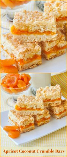 Apricot Coconut Crumble Bars Apricot Coconut Crumble Bars – a buttery coconut crumble bar with a delicious apricot compote filling. Freezes quite well too. Fruit Tea Recipes, Rock Recipes, Sweet Recipes, Dessert Recipes, Kabob Recipes, Fondue Recipes, Bar Recipes, Cookie Desserts, Cookie Bars