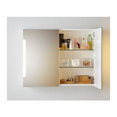 STORJORM Mirror cab 2 door/built-in lighting - 80x21x64 cm - IKEA