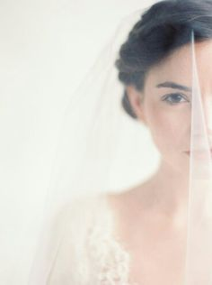 Neat Portrait Of Bride With Her Veil Blusher Down Over Her Face~~