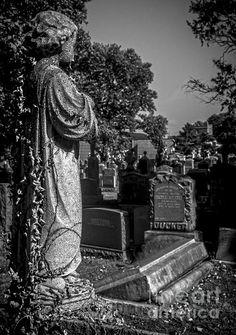 Neglected Funerary Statue - photograph by James Aiken #jamesaiken #cemetery #statue #cherub #homedecor