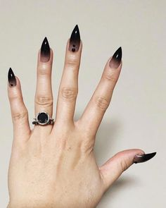 30 Black Nail Designs Pointy Black Ombre Nails The post 30 Black Nail Designs appeared first on Halloween Nails. Goth Nails, Witchy Nails, My Nails, Black Ombre Nails, Black Nail Art, White Nails, Pointy Black Nails, Black Manicure, Stiletto Nail Art