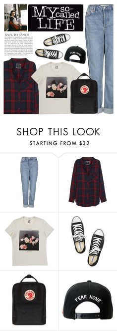 """""""TBT: My So-Called Life"""" by sweet-jolly-looks ❤ liked on Polyvore featuring Topshop, Rails, Anja, Converse, Fjällräven, Trukfit, throwback, 90s, ThrowbackThursday and tbt"""