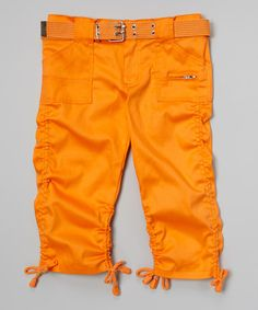 Love this Neon Orange Ruched Belted Capri Pants - Toddler & Girls on #zulily! #zulilyfinds