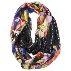 Mossimo Supply Co. Mixed Flower Infinity Scarf - Black click image to zoom