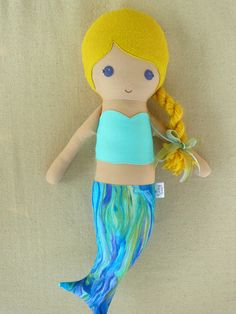 Fabric Doll Blond Mermaid Doll Cloth Mermaid