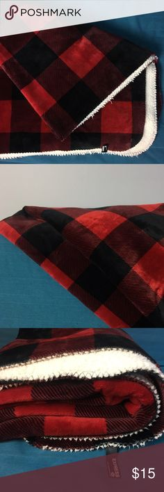 Express red buffalo plaid throw Buffalo plaid lumberjack style blanket throw.  This blanket is a generous 50x60 inches.  Used, normal wear. Express Accessories