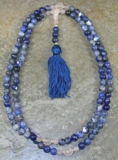 8mm Sodalite & Rose Quartz Buddhist Mala Prayer Beads - 108 Beads $27.95
