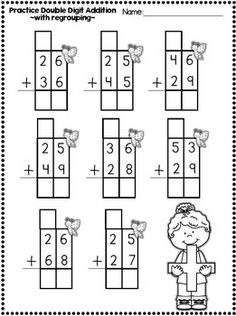 15 Adding with Regrouping Double Digit Addition and Subrtraction Printables WITH regrouping The kids can enjoy Number Worksheets, Math Worksheets, Alphabet Worksheets, Colo. First Grade Math Worksheets, Addition Worksheets, Math Addition, Second Grade Math, Addition Activities, Number Worksheets, Alphabet Worksheets, Math Classroom, Kindergarten Math