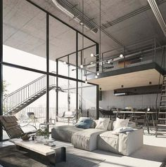 - Architecture and Home Decor - Bedroom - Bathroom - Kitchen And Living Room Interior Design Decorating Ideas - Industrial Interior Design, Industrial House, Industrial Interiors, Luxury Interior, Decor Interior Design, Interior Architecture, Interior Decorating, Interior Ideas, Modern Industrial