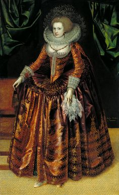 Portrait of Anne Wortley by British School, ca 1620 UK, Tate Britain. Click to see a supersized version of this portrait and its sumptuous dress fabric.