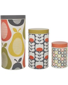 Adorn your kitchen in seventies inspired chic with this set of three Pear canisters from Orla Kiely. Made from tin, these three different sized canisters features the iconic Pear, Multi Flower & Tu. Orla Kiely, Jar Storage, Food Storage, Kitchen Storage, Storage Ideas, Canister Sets, Canisters, Graphic Patterns, Print Patterns