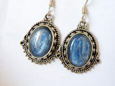Bali Sterling Silver 925 Natural Blue Kyanite Bead Beaded Dangle Earrings #Handmade #DropDangle