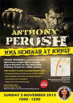 Anthony Perosh MMA Seminar @ North Melbourne Boxing & Fitness November 3rd. Call Tyrone on 0400 574 000  or email at service@crossetraining.com.au to secure your spot and avoid missing out!