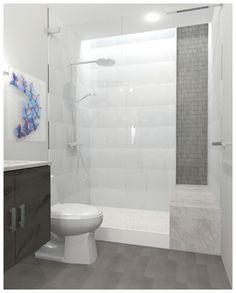 New Bathroom Shower Tile Patterns Benches Ideas White Tile Shower, White Bathroom Tiles, Bathroom Floor Tiles, Grey Bathrooms, Master Bathroom, Bathroom Wall, Modern Bathroom, Tile Floor, Room Wall Tiles