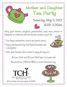 2013 Mother Daughter Tea Invitation Text, Business Invitation, Printable Invitation Templates, Invitation Card Design, Bridal Shower Invitation Wording, Tea Party Invitations, Muffins For Mom, Party Food Buffet, Daughters Day