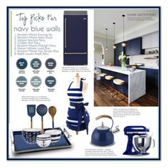 """""""Trending - Navy Kitchen"""" by affton ❤ liked on Polyvore featuring interior, interiors, interior design, home, home decor, interior decorating and kitchen"""