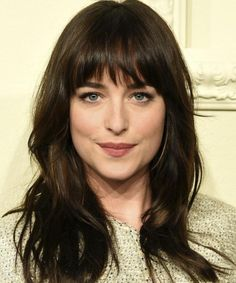 Attractive fringe hairstyles a classic, full fringe with a choppy finish looks great on dakota johnson. - Yasmin Fashions : Attractive fringe hairstyles a classic, full fringe with a choppy finish looks great on dakota johnson. Bangs With Medium Hair, Medium Hair Styles, Curly Hair Styles, Thick Hair Bangs, Hairstyles For Medium Length Hair With Bangs, Mid Length Hair With Bangs, Medium Textured Hair, Oval Face Bangs, Lob With Bangs