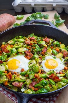Brussels Sprout Hash with Sweet Potato and Bacon recipe. 4 strips bacon, cut into 1 inch pieces 1 small onion, diced 1 small sweet potato, cut into 1/2 inch pieces 1 clove garlic, chopped 1 pound brussels sprouts, trimmed and sliced salt and pepper to taste 4 eggs