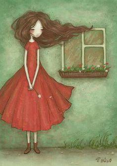 "virtualpaperdolls: ""red Photo by Sasha Salmina on Behance "" Art And Illustration, Cute Images, Cute Art, Diy Art, Paper Dolls, Folk Art, Art For Kids, Decoupage, Art Drawings"